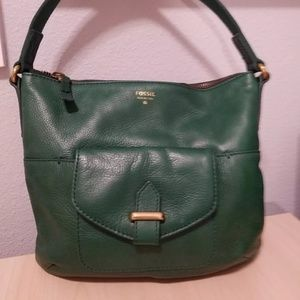 Fossil green leather purse with shoulder strap